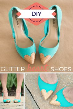 DIY Glitter Heart Heels! >> http://blog.hgtv.com/design/2015/04/15/diy-glitter-heart-shoes-prom-wedding/?soc=pinterest
