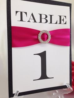 Fuchsia & Black Rhinestone + Glitter Wedding Table Number- Rhinestone Brooch, Any Color Ribbon- Display Stand Included! on Etsy, $8.75