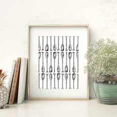 This oar paddle art print is the perfect way to bring the outside into your home. This nautical inspired black and white art illustration will add style to any lake or coastal home gallery wall.