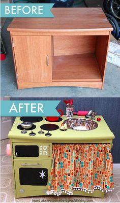 La mayoría de los niños les encanta jugar a juegos de cocina. ¿Qué tal hacer tu propia cocina de un mueble antiguo? Se puede fácilmente co...