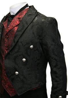 1800s Mens Black Floral Peak Collar Tail Coat | 19th Century | Historical | Period Clothing | Theatrical || Regency Brocade Tailcoat -  Black