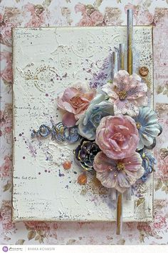 27 Ideas Shabby Chic Cards Mixed Media For 2019 Mixed Media Artwork, Mixed Media Collage, Altered Canvas, Altered Art, Flower Cards, Paper Flowers, Palette Deco, Palette Knife, Raindrops And Roses