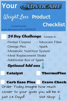 Advocare Weight Loss product checklist!! Easy to Order, fast Delivery. 24 days are going to pass anyways! Why not get 24 days close to your weight loss goals!!