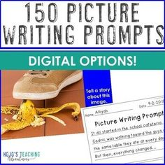 Let 2nd, 3rd, 4th, 5th, and 6th grade kids enjoy the #writing process with these great picture writing prompts. Use them in the classroom OR for remote and digital learning to make the most of ELA time. Google Slides compatible! (second, third, fourth, fifth, sixth graders, Year 2, 3, 4, 5, 6) #WritingPrompts #HoJoTeaches Picture Writing Prompts, Writing Lessons, Writing Process, Writing Ideas, Interactive Writing Notebook, Distance, Writing Assignments, Eighth Grade, Special Education Classroom