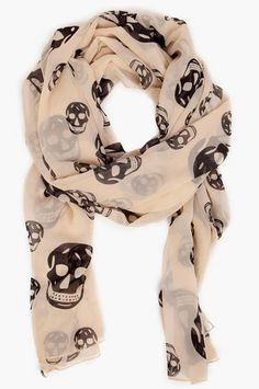 Skully Scarf: 100% Polyester. Colors: Black/Grey, Black/Ivory, Peach, Ivory $16.00