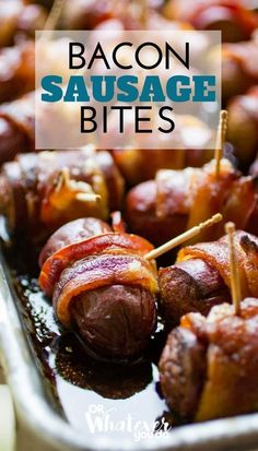 Bacon Sausage Bites, on the Traeger Grill! Smokey goodness You can cook these in your oven too, if you are Traeger-less.