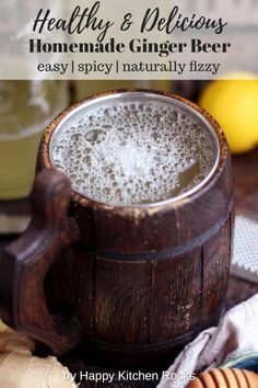 Easy Homemade Ginger Beer Recipe is healthy, spicy, fizzy and delicious! Perfect for holiday cocktails like Moscow Mule and Dark 'n' Stormy! Beer Recipes, Real Food Recipes, Vegetarian Recipes, Recipies, How To Make Beer, How To Make Homemade, Homemade Ginger Beer, Happy Kitchen, Holiday Cocktails