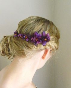 Purple Flower Bobby Pin Set - Woodland Flower Hair Accessory - Bride - Bridesmaid - Flower Girl