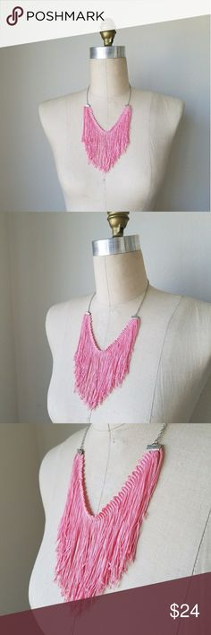 "Pink Tassel Necklace A fabulous, modern statement necklace! Pink tassel bib necklace. Stainless steel chain (hypoallergenic). Necklace measures 20"" around.  **Handmade in California. Madewell used for exposure. Madewell Jewelry Necklaces"