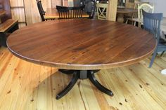 Our solid wood dining tables are sure to appeal to anyone who is looking for something unique and special. This beautiful rustic old pine table is available in any size up to 84″ rounds. The dark wood on this dining table helps to blend the marks of yesteryear with the beauty needed for todays decor. …