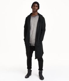 Long cardigan in black sweatshirt fabric with a hood. Side pockets, raw edges, & no buttons.   H&M Divided Guys