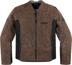 Icon 1000 Oildale Waxed Canvas Brown Motorcycle Jacket. #MOBstyle #Vintage
