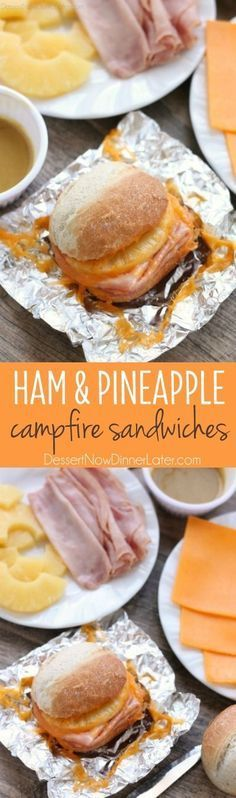 These Hot Ham and Pineapple Campfire Sandwiches are a delicious and easy tin foil recipe. Plus cleanup is a breeze! (You can even cook these in the oven or on the grill too!)