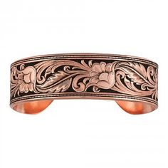 Burnished LeatherCut Floral Cuff Bracelet (BC2598C-BK)