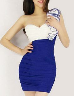 Fantastic Chiffon Blue Sexy Style One Shoulder Sheath Sleeveless Mini Party Dresses