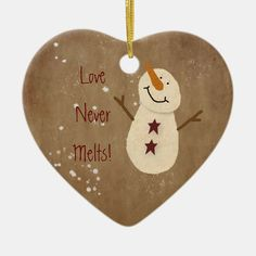 This Love Never Melts Christmas Ornament features my mouse drawn primitive snowman. Makes a great small gift or stocking stuffer. Unique Christmas Ornaments, Christmas Crafts For Gifts, Diy Christmas Ornaments, Christmas Mantles, Silver Christmas, Victorian Christmas, Vintage Ornaments, Vintage Santas, Primitive Christmas Crafts