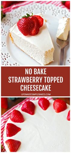 This light and creamy cheesecake doesn't require any baking, just whip it up and chill it in the refrigerator! Strawberry Topping, Strawberry Cheesecake, No Bake Desserts, Delicious Desserts, Yummy Food, Cake Recipes, Dessert Recipes, Homemade Cheesecake, Baked Strawberries