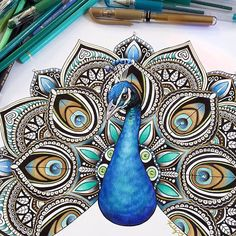 """World of Artists on Instagram: """"Mandala Peacock By @kellylahar - Check out @proartists for more amazing art"""""""