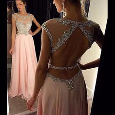 pink prom dress, long prom Dress, beaded evening dress, open back prom dress, 2017 evening dress, BD353