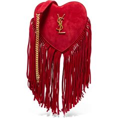 Saint LaurentLove Small Fringed Suede Shoulder Bag (€1.000) ❤ liked on Polyvore featuring bags, handbags, shoulder bags, red, suede fringe purse, boho purses, red handbags, red suede handbag and suede handbags