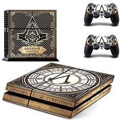 Playstation 4 + 2 Controller Aufkleber Schutzfolie Set - Assassins Creed Syndicate (1) /PS4