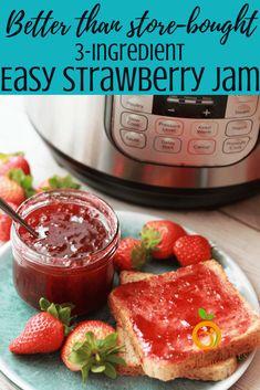 3 Ingredient Instant Pot Strawberry Jam – Food for Healty Pressure Cooker Recipes, Pressure Cooking, Pavlova, Homemade Strawberry Jam, No Pectin Strawberry Jam Recipe, Strawberry Perserves Recipe, Strawberry Spread Recipe, Making Strawberry Jam, Sugar Free Strawberry Jam