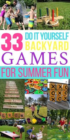 33 Awesome DIY Outdoor Games For Summer Fun - Looking for fun and simple DIY backyard games and activities? These 33 homemade ga - Summer Fun For Kids, Summer Diy, Diy For Kids, Summer Games, Party Summer, Summer Ideas, Outdoor Activities For Kids, Fun Activities, Giant Outdoor Games