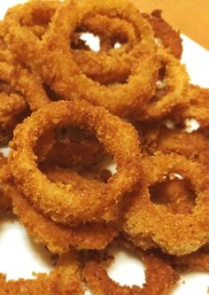 Golden Crispy Homemade Onion Rings. These always make a fantastic side dish or when you want a snack but want an alternative to fries and don't want anything sweet.