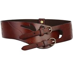 Women's Fashion Double Buckle Embossed Wide Belt (Brown) at Amazon... ($30) ❤ liked on Polyvore featuring accessories, belts, fat belt, brown belt, thick belts, double buckle belt and thick brown belt
