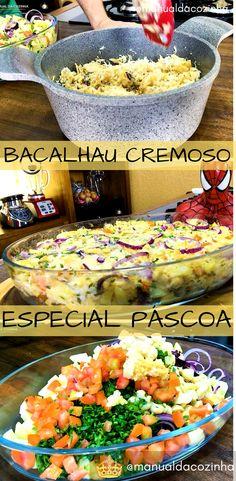 Receita de Bacalhau Cremoso Desfiado no Forno! Delicioso, faça na páscoa ou em qualquer outra época! #receita #bacalhau #peixe #comida #pascoa #manualdacozinha #aguanaboca