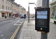 Pedestrians: push button for a cup of tea   Sticker street art from Bristol Centre