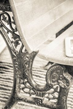 Black And White Old Oxford School Desk Print by RedHedgePhotos, $9.99