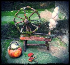 Fairytale Spinning Wheel Table Decor Doll Furniture by pandorajane