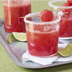 Watermelon Margaritas by Cooking Light. Because of the sweetness of the watermelon this margarita doesn't need much sugar, so one glass has only 105 calories. A little bit of fresh lime juice brightens the drink and adds a welcome tanginess. For a special touch, rim your glasses with sugar and garnish with lime wedges and watermelon balls.