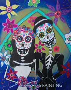 Mexican Wedding Couple Wedding Day of the Dead by prisarts on Etsy; Dia de los Muertos, anniversary gift, present, love, lovers, matrimonio, special wedding, arch, beach wedding, couple, florals, mexico wedding event