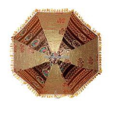 Indian Decorative Zari Embroidery Work Parasol Cotton Umbrella For Christmas #Handmade #Parasol
