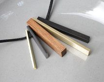 Minimalist Necklace Contemporary Necklace Mixed Metal Wood Pendant