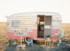 Glamour Camper, glam camping, retro vintage old pink and white trailer; Upcycle, Recycle, Salvage, diy, thrift, flea, repurpose!  For vintage ideas and goods shop at Estate ReSale & ReDesign, Bonita Springs, FL