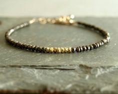 Goud en pyriet armband natuurlijke pyriet kralen 14 k