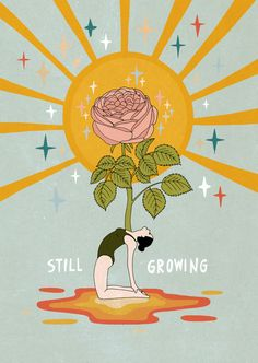 Still growing Sticker by Asja Boros - White - # Skin Care wallpaper backgrounds Photo Wall Collage, Collage Art, 3 Chakra, Plakat Design, Happy Words, Hippie Art, Aesthetic Art, Aesthetic Yellow, Aesthetic Fashion