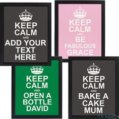 Personalised Keep Calm Kitchen Wall Art #kitchengiftco