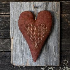 Primitive Valentine Heart Barn Wood Wall by rockriverstitches,