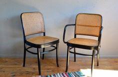 Ensemble chaise et fauteuil en bois courbé style Thonet Joseph Hoffmann