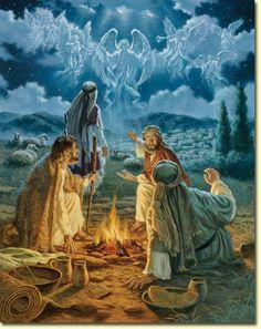 """Anjos Anunciando aos pastores """" boas novas de grande alegria , o Salvador Jesus nasceu """""""