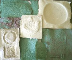 Cream Craft Paper Green Art Paper Cast Paper by ThresholdPaperArt