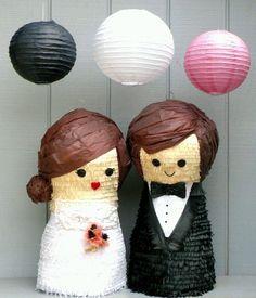 Bride and Groom Piñatas- Ready to Ship. $120.00, via Etsy. Wedding Pinata, Pinata Party, Wedding Games, Wedding Favors, Diy Wedding, Wedding Venues, Wedding Decorations, Wedding Stuff, Our Wedding Day