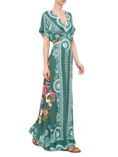 Vestido Longo Lenco Giza - Farm - Verde - Shop2gether