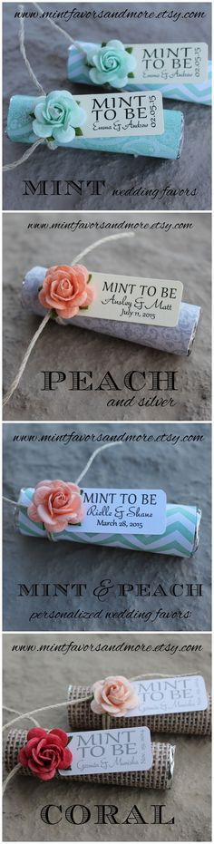 "Clink here to see more ""mint to be"" favor designs for your mint and peach…"
