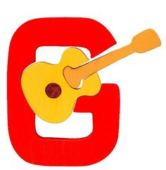 Montessori - Waldorf wooden puzzle letter G, made by hand of maple wood,no harmful colors and no lacquer