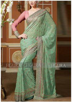 Mint sari,  coral blouse
